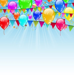 Holiday background with flags and balloons vector image