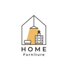 House logo lamp drawer shelf home furniture logo vector