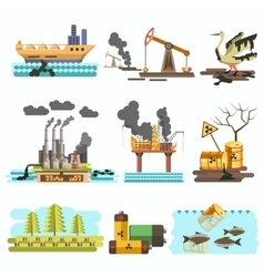 Icons of ecology flat design concept vector image