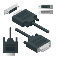 Isometric dvi adapter digital visual interface vector