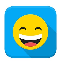 Laugh yellow smile flat app icon with long shadow vector image