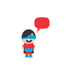 Little superhero flat cartoon with chat bubble vector