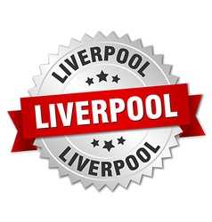 Liverpool round silver badge with red ribbon vector image