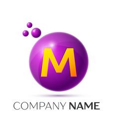 M letter splash purple dots and circle bubble vector