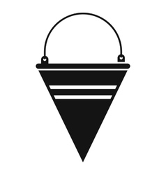 Metal fire bucket icon simple style vector