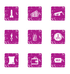 Military stability icons set grunge style vector