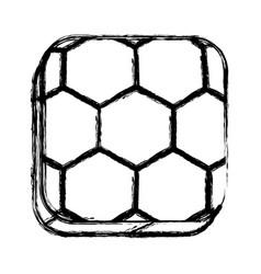 Monochrome sketch square button with soccer vector