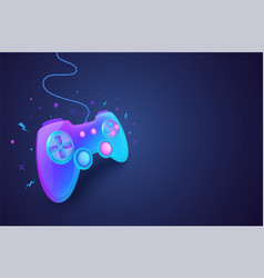 neon game controller for controlling pc vector image