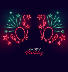 neon style happy birthday banner with balloons vector image