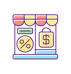 Outlet store rgb color icon vector