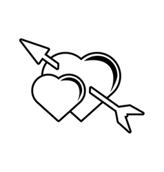 Pictogram two heart arrow love valentines symbol vector