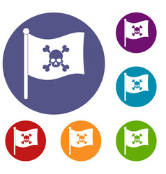 Pirate flag icons set vector