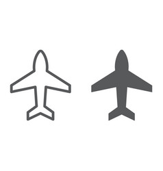 plane line and glyph icon aircraft and jet vector image