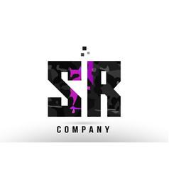 purple black alphabet letter sr s r logo vector image