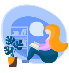 reading woman with text bubble on white background vector image