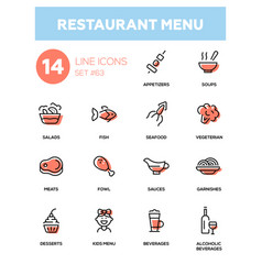 Restaurant menu - line design icons set vector