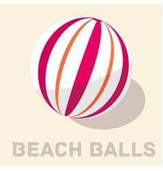 retro flat beach ball icon concept vector image