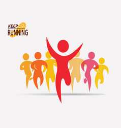 running people set of symbols competition and vector image