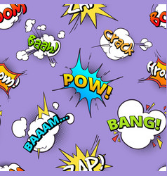 seamless pattern cartoon comic speech bubbles vector image