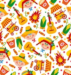 Seamless pattern of festa Junina village festival vector