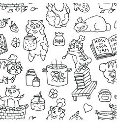 seamless pattern with line art bobtail cat vector image