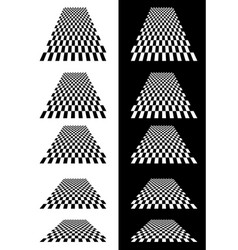 Set of checkered planes in perspective vector