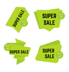 set of four green super sale stickers vector image