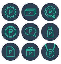set of icons about money with ruble symbols vector image