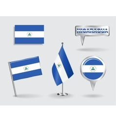 Set of nicaraguan pin icon and map pointer flags vector