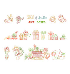 set of outlined festive gifts vector image