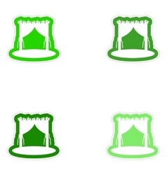 Set of paper stickers on white background wedding vector