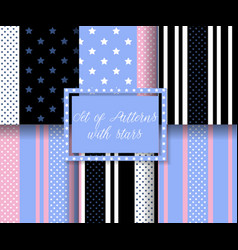 set of patterns with stars vector image