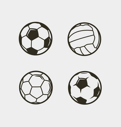 set of soccer football balls vector image