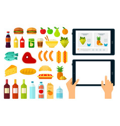 set online products online icons flat vector image