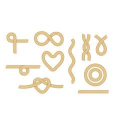 set sea rope knots nautical marine cords heart vector image