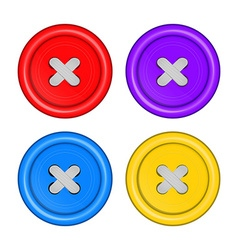 sewing buttons set red purple blue and yellow with vector image