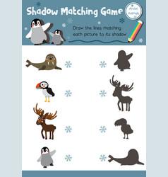 Shadow matching game arctic animal vector