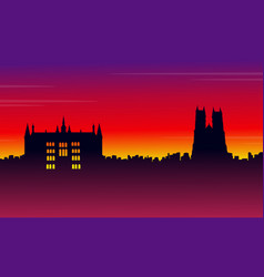 Silhouette london city on red background scenery vector