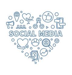 social media concept blue linear heart vector image