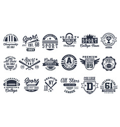 Sport club logo design set baseball retro emblem vector