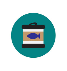Stylish icon in circle canned tuna fish vector