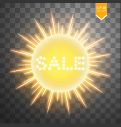 super summer sale banner with sun on the yellow vector image