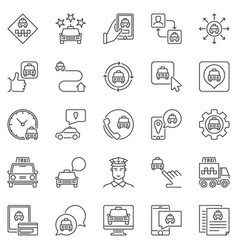 taxi services icons set taxi car app vector image