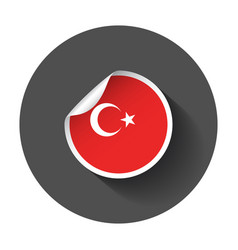 turkey sticker with flag with long shadow vector image