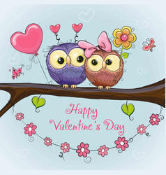 Valentines card with cute owls vector
