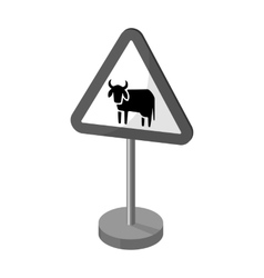 Warning road sign icon in monochrome style vector image