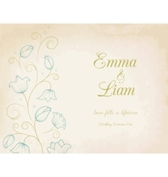 Wedding invitation card with blue lily flowers vector image