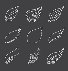 wings set on gray background vector image