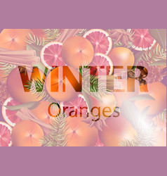 Winter background with orange slices vector