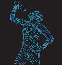 Wireframe Body Drinking Water vector